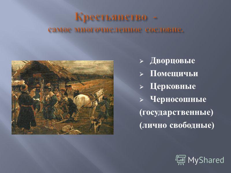 Дворцовые Помещичьи Церковные Черносошные ( государственные ) ( лично свободные )