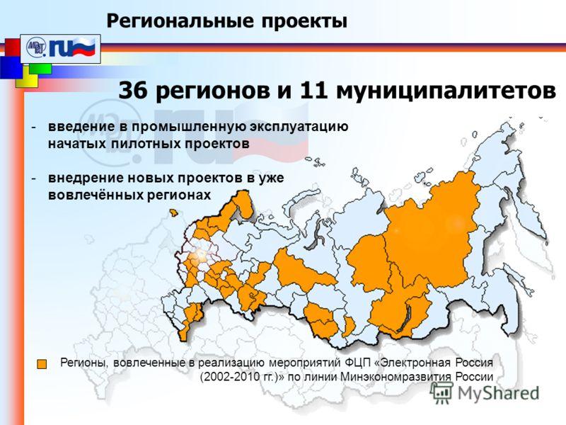 Региональные проекты 36 регионов и 11 муниципалитетов Регионы, вовлеченные в реализацию мероприятий ФЦП «Электронная Россия (2002-2010 гг.)» по линии Минэкономразвития России -введение в промышленную эксплуатацию начатых пилотных проектов -внедрение