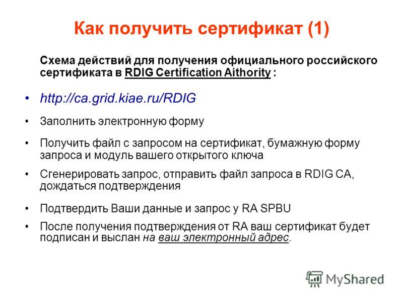 Как получить сертификат (1) Схема действий для получения официального российского сертификата в RDIG Certification Aithority : http://ca.grid.kiae.ru/RDIG Заполнить электронную форму Получить файл с запросом на сертификат, бумажную форму запроса и мо