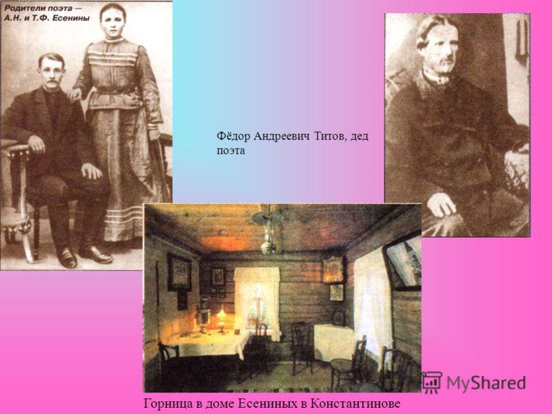 Фёдор Андреевич Титов, дед поэта Горница в доме Есениных в Константинове