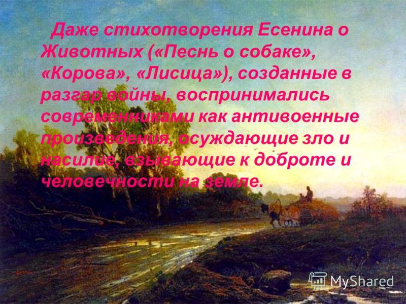 Даже стихотворения Есенина о Животных («Песнь о собаке», «Корова», «Лисица»), созданные в разгар войны, воспринимались современниками как антивоенные произведения, осуждающие зло и насилие, взывающие к доброте и человечности на земле.