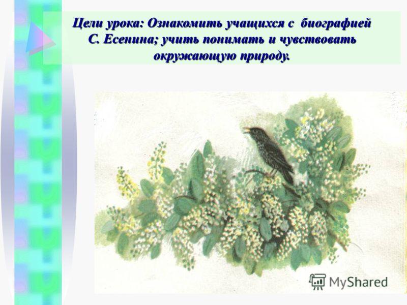 Цели урока: Ознакомить учащихся с биографией С. Есенина; учить понимать и чувствовать окружающую природу.