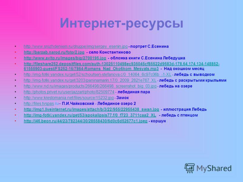 Интернет-ресурсы http://www.srozhdeniem.ru/drugoe/img/sergey_esenin.jpg - портрет С.Есенинаhttp://www.srozhdeniem.ru/drugoe/img/sergey_esenin.jpg http://barzab.narod.ru/foto/2.jpg - село Константиновоhttp://barzab.narod.ru/foto/2.jpg http://www.avito