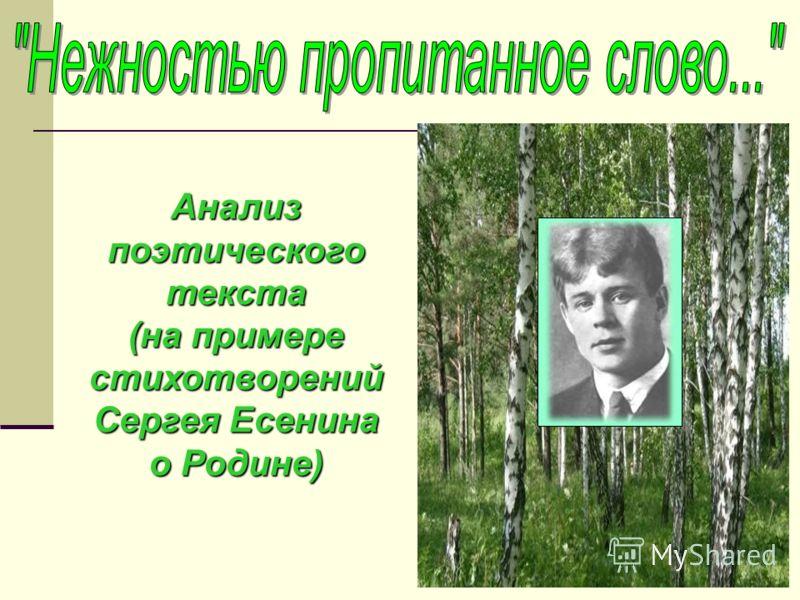 Анализ поэтического текста (на примере стихотворений Сергея Есенина о Родине)