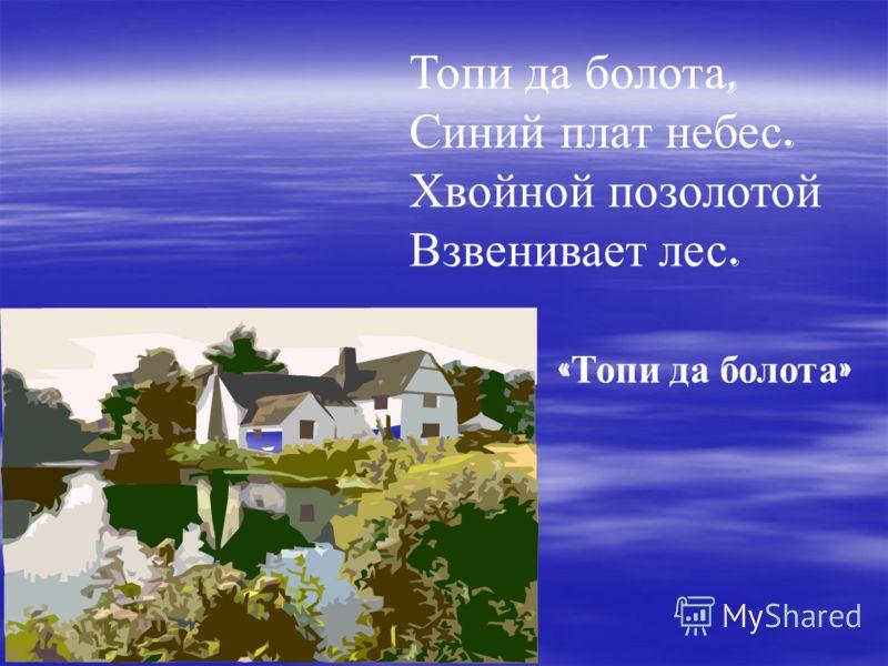 Топи да болота, Синий плат небес. Хвойной позолотой Взвенивает лес. « Топи да болота »