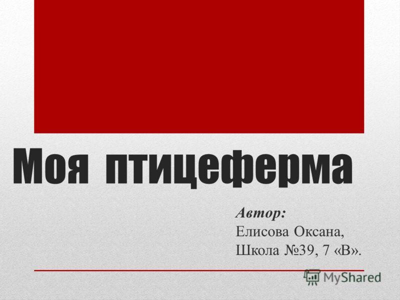 Моя птицеферма Автор: Елисова Оксана, Школа 39, 7 «В».