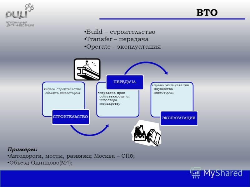 Build – строительство Transfer – передача Operate - эксплуатация ВТО новое строительство объекта инвестором СТРОИТЕЛЬСТВО передача прав собственности от инвестора государству ПЕРЕДАЧА право эксплуатации имущества инвестором ЭКСПЛУАТАЦИЯ Примеры: Авто