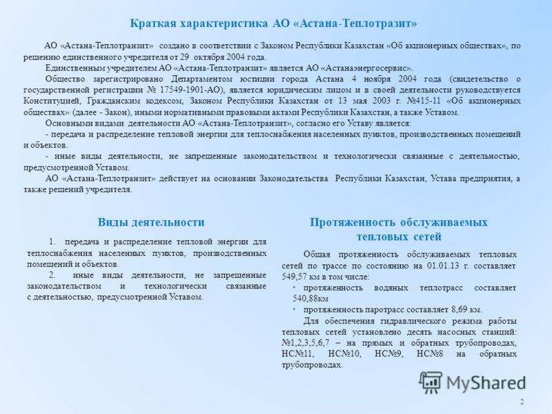 Краткая характеристика АО «Астана-Теплотразит» АО «Астана-Теплотранзит» создано в соответствии с Законом Республики Казахстан «Об акционерных обществах», по решению единственного учредителя от 29 октября 2004 года. Единственным учредителем АО «Астана