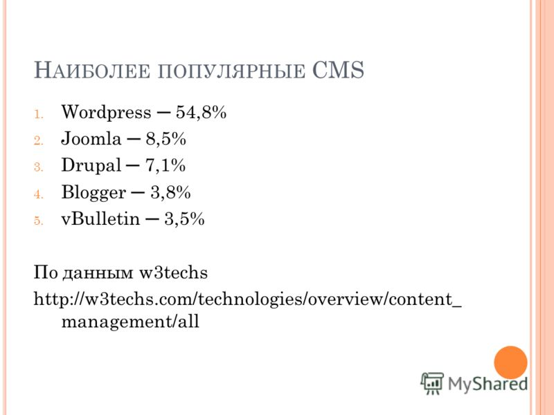 Н АИБОЛЕЕ ПОПУЛЯРНЫЕ CMS 1. Wordpress 54,8% 2. Joomla 8,5% 3. Drupal 7,1% 4. Blogger 3,8% 5. vBulletin 3,5% По данным w3techs http://w3techs.com/technologies/overview/content_ management/all