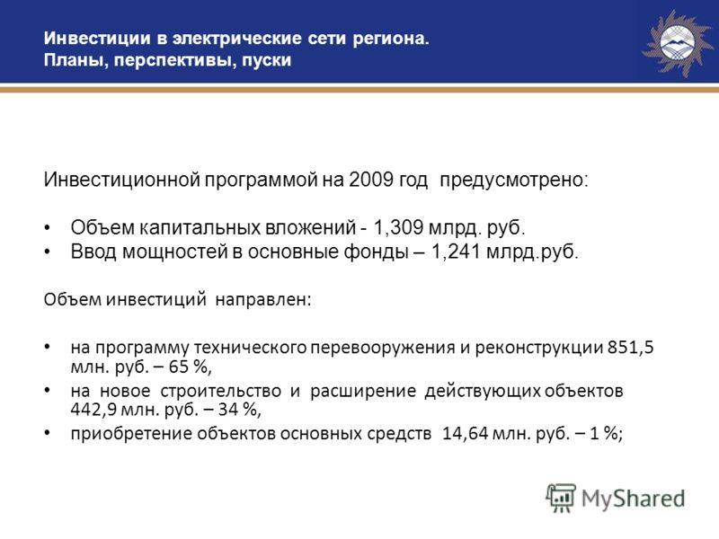 Инвестиции в электрические сети региона. Планы, перспективы, пуски Инвестиционной программой на 2009 год предусмотрено: Объем капитальных вложений - 1,309 млрд. руб. Ввод мощностей в основные фонды – 1,241 млрд.руб. Объем инвестиций направлен: на про