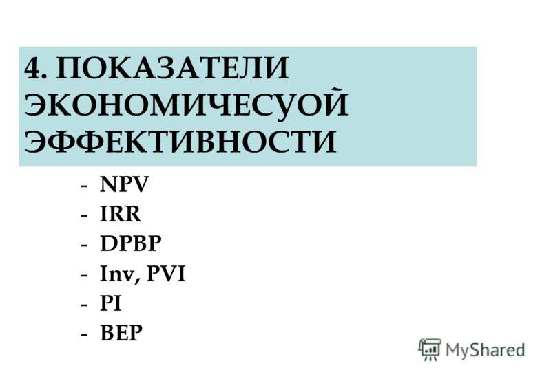 4. ПОКАЗАТЕЛИ ЭКОНОМИЧЕСУОЙ ЭФФЕКТИВНОСТИ - NPV - IRR - DPBP - Inv, PVI - PI - BEP