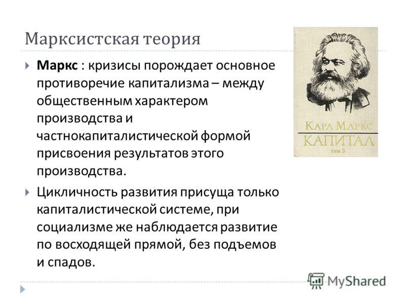 Марксистская теория Маркс : кризисы порождает основное противоречие капитализма – между общественным характером производства и частнокапиталистической формой присвоения результатов этого производства. Цикличность развития присуща только капиталистиче