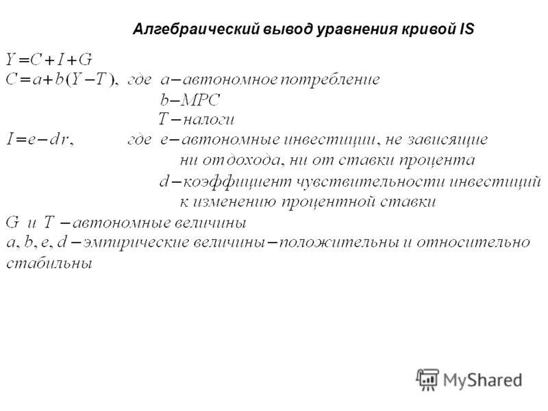 Алгебраический вывод уравнения кривой IS