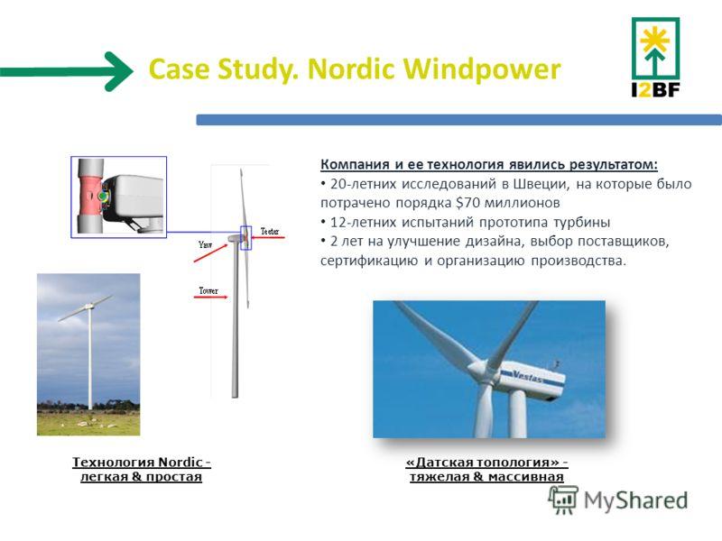 Case Study. Nordic Windpower «Датская топология» - тяжелая & массивная Технология Nordic - легкая & простая Компания и ее технология явились результатом: 20-летних исследований в Швеции, на которые было потрачено порядка $70 миллионов 12-летних испыт