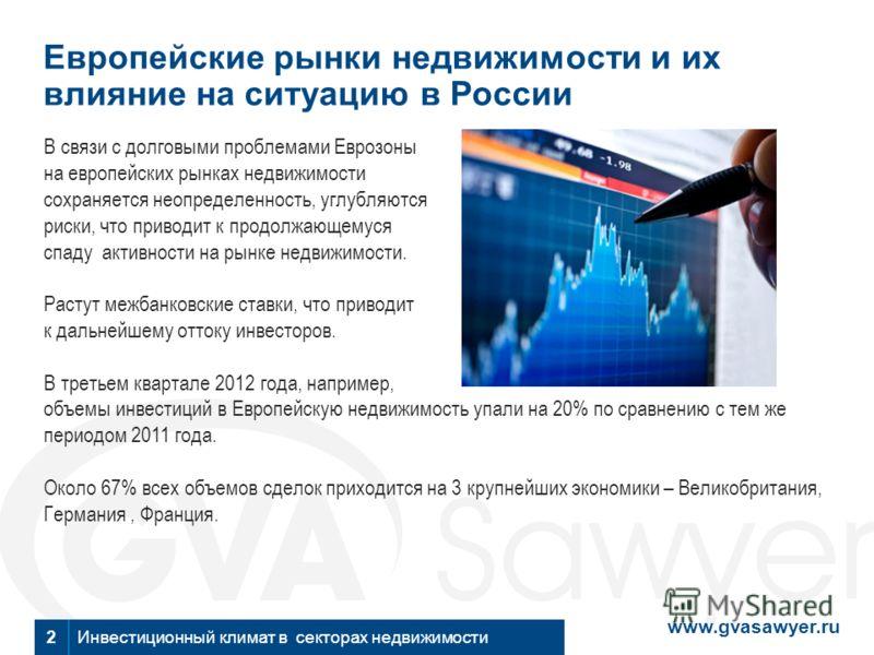www.gvasawyer.ru Инвестиционный климат в секторах недвижимости2 Европейские рынки недвижимости и их влияние на ситуацию в России В связи с долговыми проблемами Еврозоны на европейских рынках недвижимости сохраняется неопределенность, углубляются риск