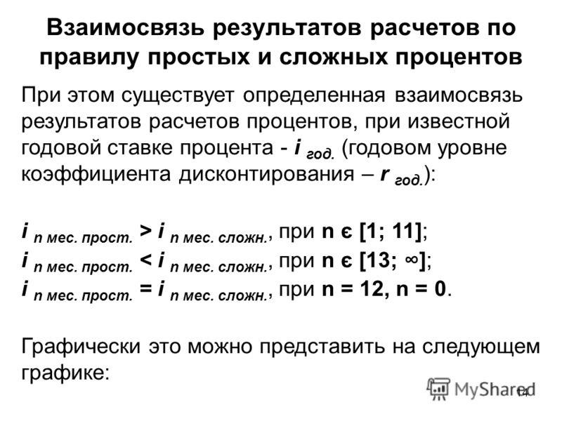 14 При этом существует определенная взаимосвязь результатов расчетов процентов, при известной годовой ставке процента - i год. (годовом уровне коэффициента дисконтирования – r год. ): i n мес. прост. > i n мес. сложн., при n є [1; 11]; i n мес. прост