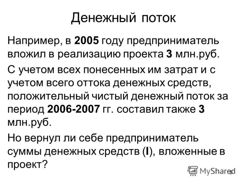 5 Денежный поток 3 Например, в 2005 году предприниматель вложил в реализацию проекта 3 млн.руб. 3 С учетом всех понесенных им затрат и с учетом всего оттока денежных средств, положительный чистый денежный поток за период 2006-2007 гг. составил также