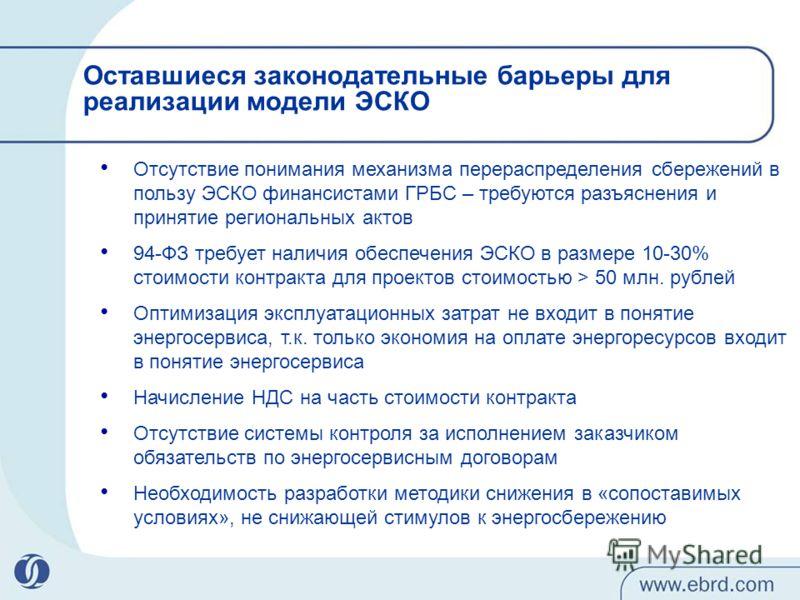 Оставшиеся законодательные барьеры для реализации модели ЭСКО Отсутствие понимания механизма перераспределения сбережений в пользу ЭСКО финансистами ГРБС – требуются разъяснения и принятие региональных актов 94-ФЗ требует наличия обеспечения ЭСКО в р