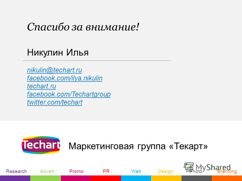 Маркетинговая группа «Текарт» Спасибо за внимание! Research Advert Promo PR Web Design Photo Branding Никулин Илья nikulin@techart.ru facebook.com/ilya.nikulin techart.ru facebook.com/Techartgroup twitter.com/techart