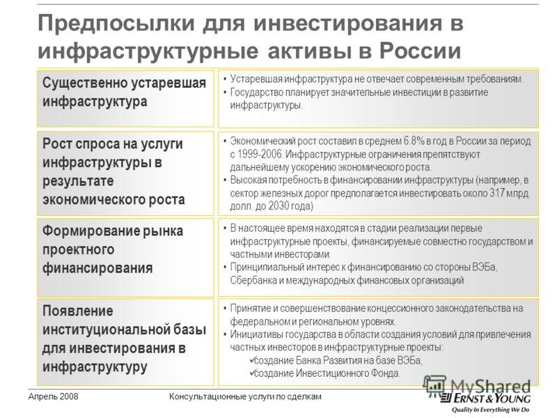 Предпосылки для инвестирования в инфраструктурные активы в России Апрель 2008Консультационные услуги по сделкам Рост спроса на услуги инфраструктуры в результате экономического роста Экономический рост составил в среднем 6.8% в год в России за период