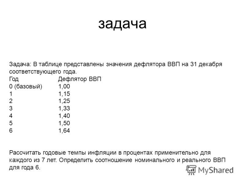 задача Задача: В таблице представлены значения дефлятора ВВП на 31 декабря соответствующего года. ГодДефлятор ВВП 0 (базовый)1,00 11,15 21,25 31,33 41,40 51,50 61,64 Рассчитать годовые темпы инфляции в процентах применительно для каждого из 7 лет. Оп