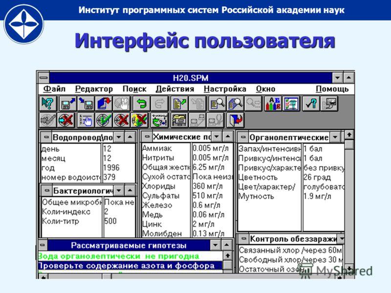 Институт программных систем Российской академии наук Интерфейс пользователя