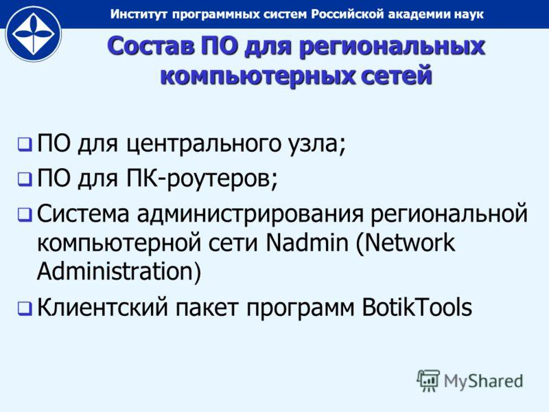 Институт программных систем Российской академии наук Состав ПО для региональных компьютерных сетей ПО для центрального узла; ПО для ПК-роутеров; Система администрирования региональной компьютерной сети Nadmin (Network Administration ) Клиентский паке