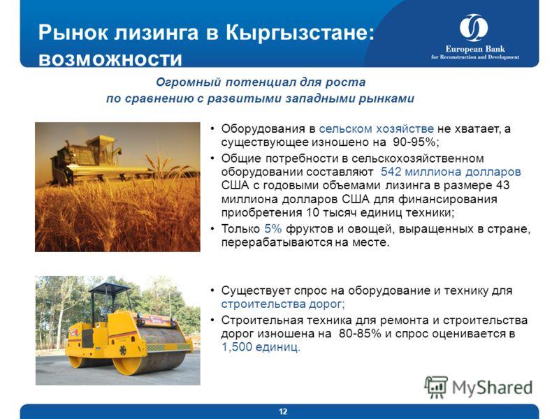 12 Рынок лизинга в Кыргызстане: возможности Существует спрос на оборудование и технику для строительства дорог; Строительная техника для ремонта и строительства дорог изношена на 80-85% и спрос оценивается в 1,500 единиц. Огромный потенциал для роста