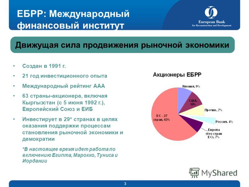3 ЕБРР: Международный финансовый институт Создан в 1991 г. 21 год инвестиционного опыта Международный рейтинг ААА 63 страны-акционера, включая Кыргызстан (с 5 июня 1992 г.), Европейский Союз и ЕИБ Инвестирует в 29* странах в целях оказания поддержки