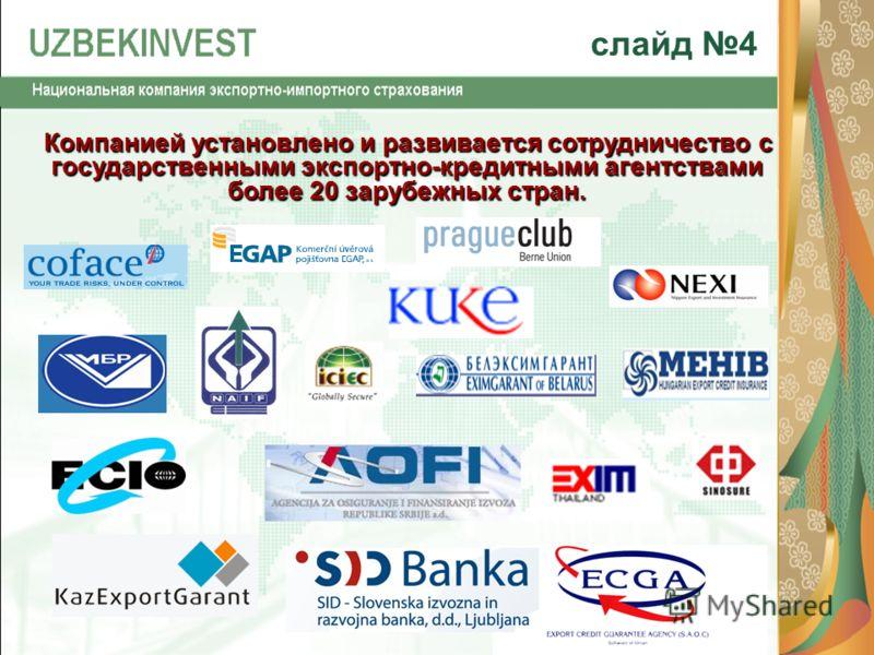 Компанией установлено и развивается сотрудничество с государственными экспортно-кредитными агентствами более 20 зарубежных стран. Компанией установлено и развивается сотрудничество с государственными экспортно-кредитными агентствами более 20 зарубежн