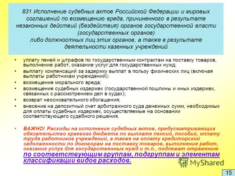 831 Исполнение судебных актов Российской Федерации и мировых соглашений по возмещению вреда, причиненного в результате незаконных действий (бездействия) органов государственной власти (государственных органов) либо должностных лиц этих органов, а так
