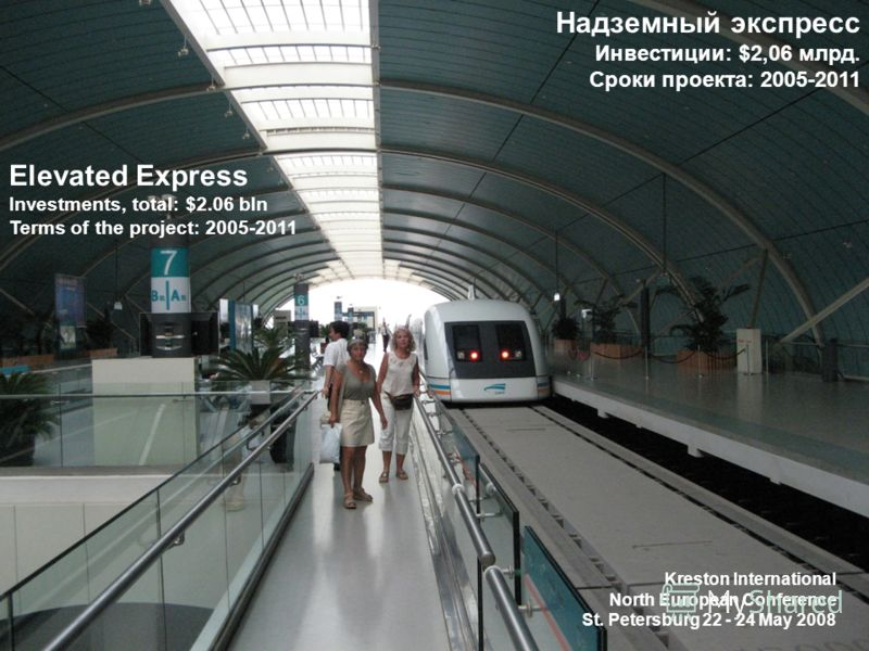 Elevated Express Investments, total: $2.06 bln Terms of the project: 2005-2011 Надземный экспресс Инвестиции: $2,06 млрд. Сроки проекта: 2005-2011 Kreston International North European Conference St. Petersburg 22 - 24 May 2008