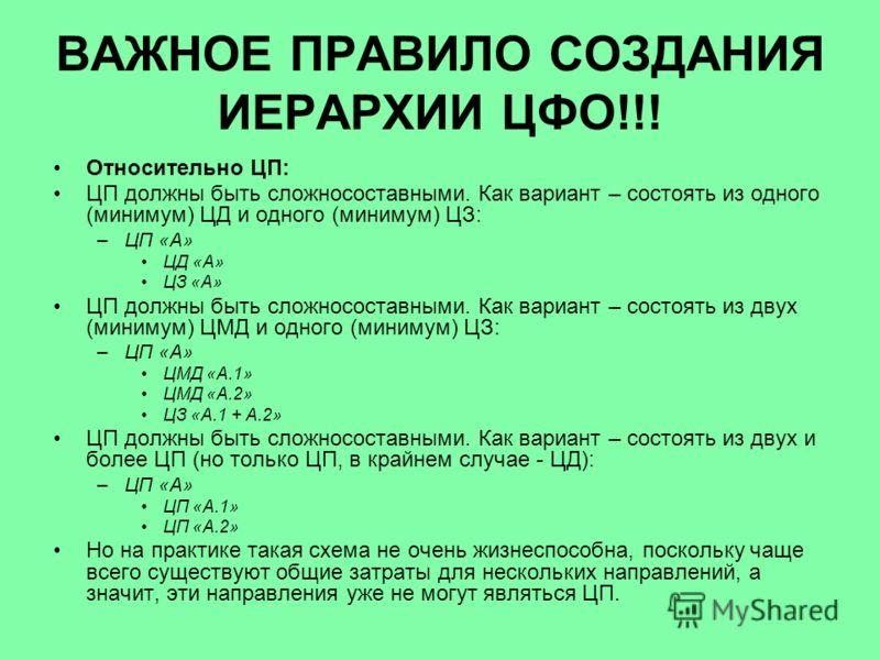 ВАЖНОЕ ПРАВИЛО СОЗДАНИЯ ИЕРАРХИИ ЦФО!!! Относительно ЦП: ЦП должны быть сложносоставными. Как вариант – состоять из одного (минимум) ЦД и одного (минимум) ЦЗ: –ЦП «А» ЦД «А» ЦЗ «А» ЦП должны быть сложносоставными. Как вариант – состоять из двух (мини