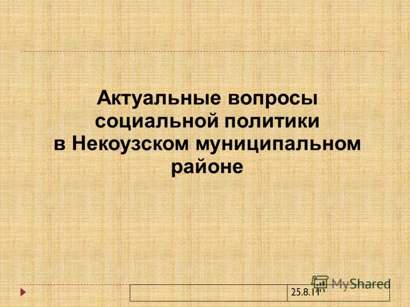 25.8.11 Актуальные вопросы социальной политики в Некоузском муниципальном районе