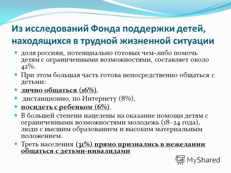 Из исследований Фонда поддержки детей, находящихся в трудной жизненной ситуации доля россиян, потенциально готовых чем-либо помочь детям с ограниченными возможностями, составляет около 42%. При этом большая часть готова непосредственно общаться с дет