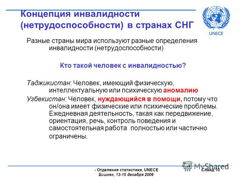 - Отделение статистики, UNECE Бишкек, 13-15 декабря 2006 Слайд 10 Концепция инвалидности (нетрудоспособности) в странах СНГ Разные страны мира используют разные определения инвалидности (нетрудоспособности) Кто такой человек с инвалидностью? Таджикис