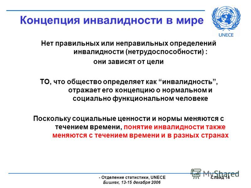 - Отделение статистики, UNECE Бишкек, 13-15 декабря 2006 Слайд 14 Концепция инвалидности в мире Нет правильных или неправильных определений инвалидности (нетрудоспособности) : они зависят от цели ТО, что общество определяет как инвалидность, отражает