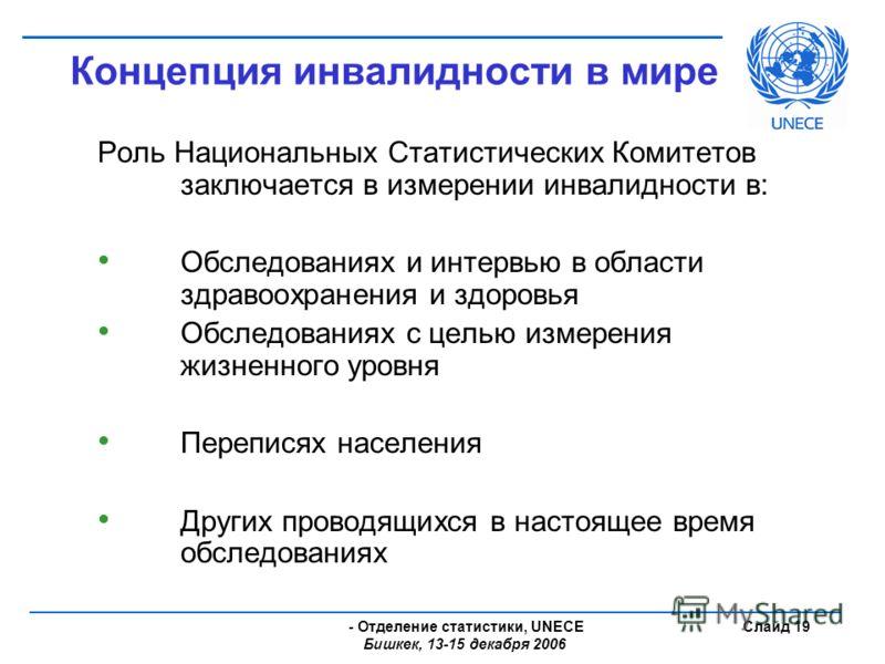 - Отделение статистики, UNECE Бишкек, 13-15 декабря 2006 Слайд 19 Концепция инвалидности в мире Роль Национальных Статистических Комитетов заключается в измерении инвалидности в: Обследованиях и интервью в области здравоохранения и здоровья Обследова