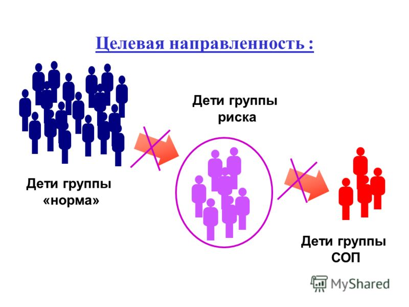 Целевая направленность : Дети группы «норма» Дети группы риска Дети группы СОП