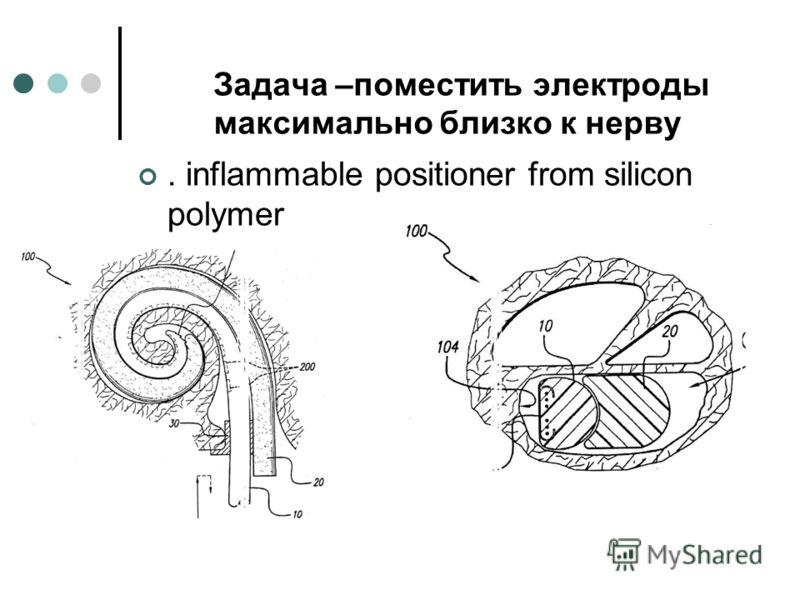 Задача –поместить электроды максимально близко к нерву. inflammable positioner from silicon polymer
