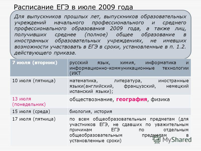 Расписание ЕГЭ в июле 2009 года Для выпускников прошлых лет, выпускников образовательных учреждений начального профессионального и среднего профессионального образования 2009 года, а также лиц, получивших среднее (полное) общее образование в иностран