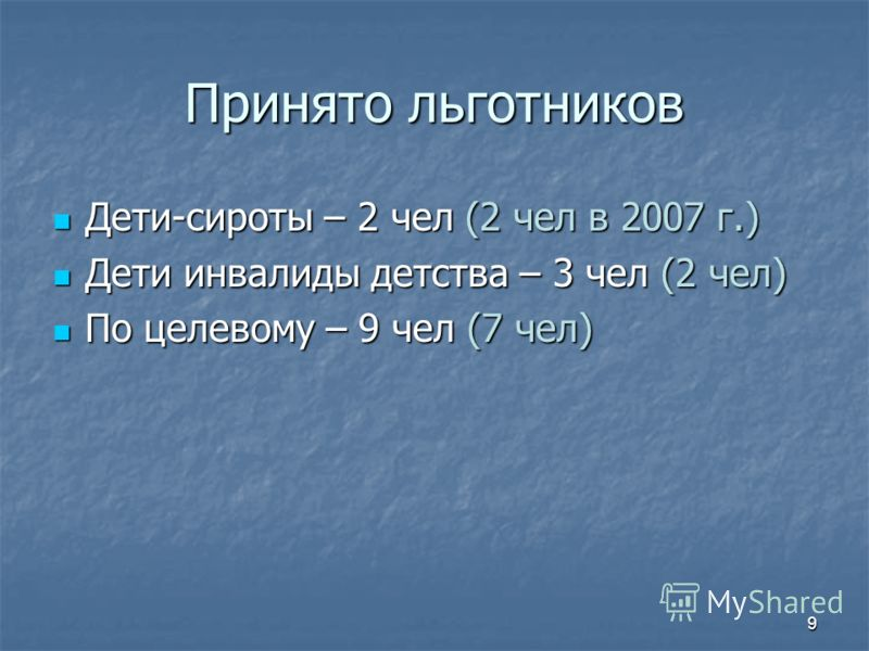 8 Получили отличную оценку п/п п/пКафедраМедалисты Общее кл-во «5» «5» 1АВТОМАТЫ2 6 (5) 2ТМ1 3 (8) 3МиДМ2 4 (5) 4ТиТС1 3 (15) 5ГАК0 2 (2) 6МиТОМД3 3 (14) 7ПГиД1 6 (6) 8УКТИ1 4 (1) 9 Полиграфические машины 0 0 (1) 10ТКМ3 6 ИТОГО по факультету 20 % от