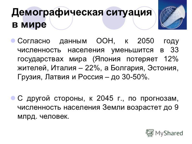 Демографическая ситуация в мире Согласно данным ООН, к 2050 году численность населения уменьшится в 33 государствах мира (Япония потеряет 12% жителей, Италия – 22%, а Болгария, Эстония, Грузия, Латвия и Россия – до 30-50%. С другой стороны, к 2045 г.