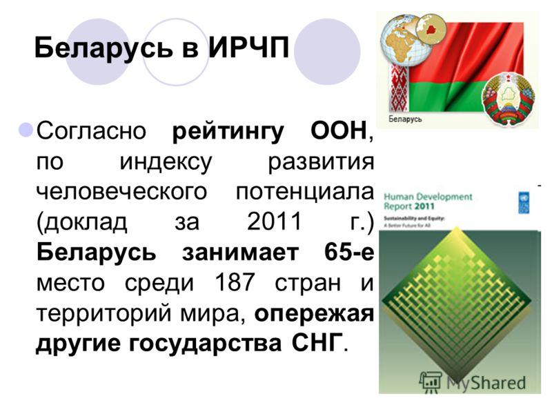 Беларусь в ИРЧП Согласно рейтингу ООН, по индексу развития человеческого потенциала (доклад за 2011 г.) Беларусь занимает 65-е место среди 187 стран и территорий мира, опережая другие государства СНГ.