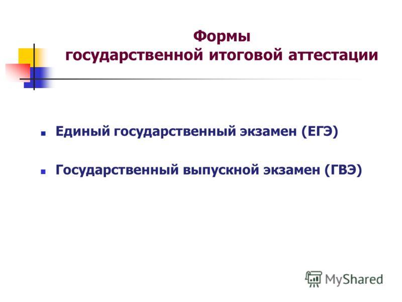 Формы государственной итоговой аттестации Единый государственный экзамен (ЕГЭ) Государственный выпускной экзамен (ГВЭ)
