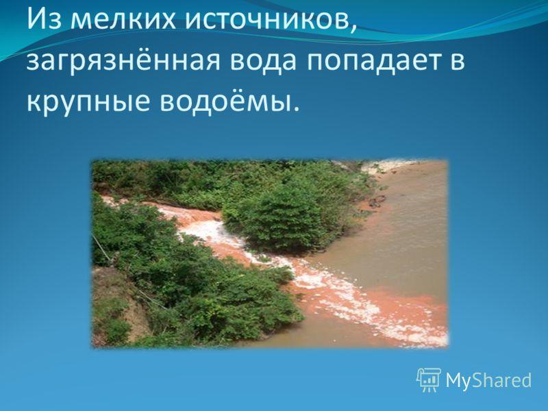 Из мелких источников, загрязнённая вода попадает в крупные водоёмы.