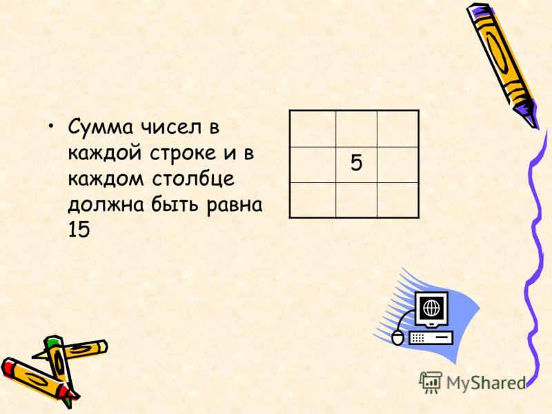 Сумма чисел в каждой строке и в каждом столбце должна быть равна 15 5