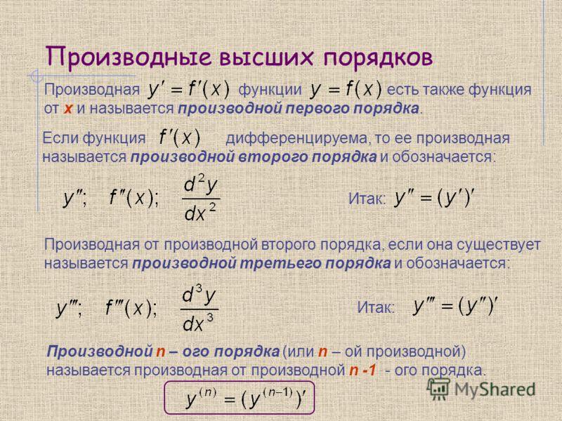 Производные высших порядков Итак: Производной n – ого порядка (или n – ой производной) называется производная от производной n -1 - ого порядка. Производная функции есть также функция от x и называется производной первого порядка. Если функция диффер