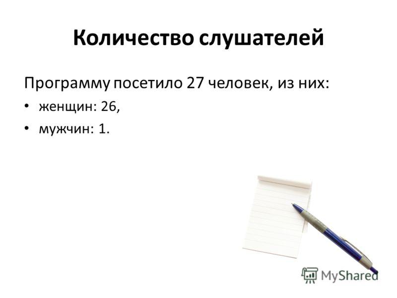 Количество слушателей Программу посетило 27 человек, из них: женщин: 26, мужчин: 1.
