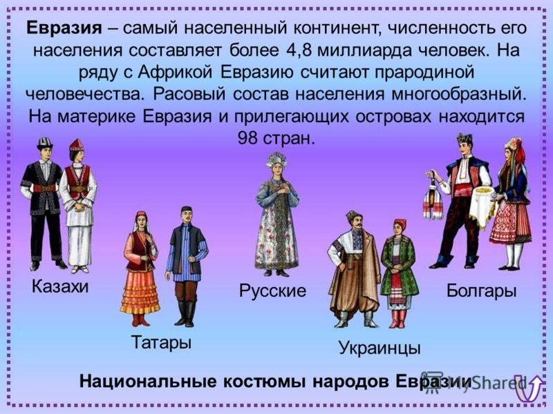 Национальные костюмы народов Евразии Болгары Украинцы Татары Русские Казахи Евразия – самый населенный континент, численность его населения составляет более 4,8 миллиарда человек. На ряду с Африкой Евразию считают прародиной человечества. Расовый сос